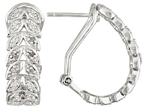 Diamond Rhodium Over Brass Earrings .10ctw