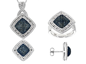 Blue And White Diamond Rhodium Over Brass Jewelry Set .25ctw