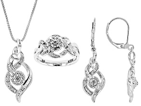 White Diamond Rhodium Over Brass Jewelry Set .10ctw