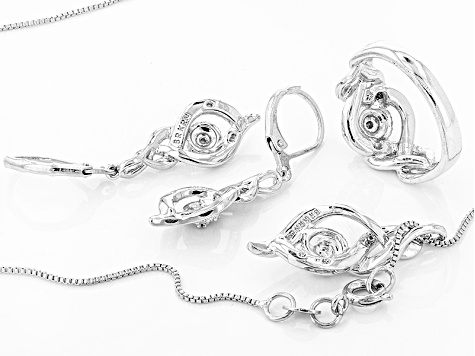 White Diamond Rhodium Over Brass Jewelry Set .10ctw