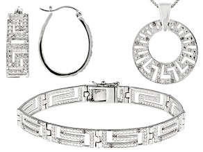 White Diamond Rhodium Over Brass Jewelry Set .24ctw