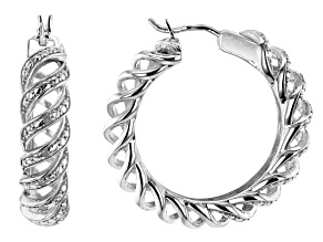White Diamond Rhodium Over Brass Hoop Earrings 0.10ctw