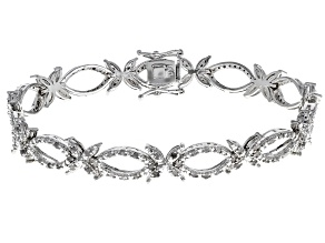 Diamond Rhodium Over Brass Bracelet .64ctw