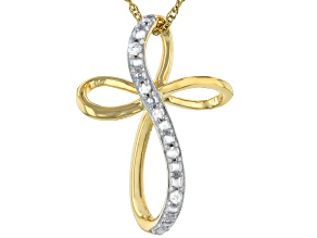 "White Diamond Accent 14k Yellow Gold Over Brass Cross Slide Pendant With 18"" Rope Chain"
