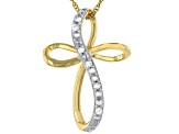 White Diamond Accent 14k Yellow Gold Over Brass Cross Slide Pendant With 18