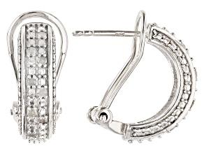 White Diamond Rhodium Over Brass J-Hoop Earrings 0.20ctw