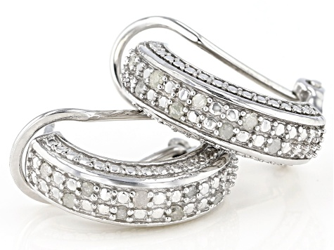 White Diamond Rhodium Over Brass J-Hoop Earrings 0.20ctw