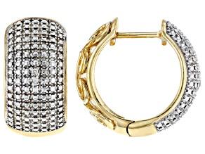 White Diamond Accent 14k Yellow Gold Over Brass Hoop Earrings