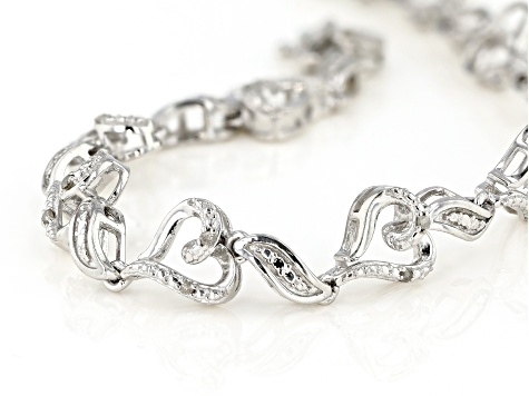 White Diamond Rhodium Over Brass Heart Bracelet 0.20ctw