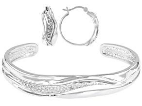 White Diamond Accent Rhodium Over Brass Cuff Bracelet And Hoop Earrings Set