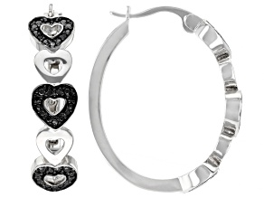 Emulous™ 0.25ctw Round Black Diamond Rhodium Over Brass Heart Hoop Earrings