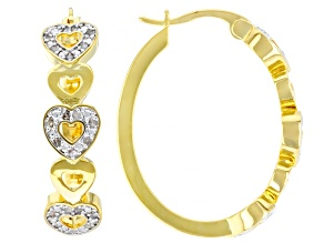 Emulous™ 0.25ctw Round White Diamond 14K Yellow Gold Over Brass Heart Hoop Earrings