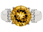 Yellow Citrine Sterling Silver Ring 3.08ctw