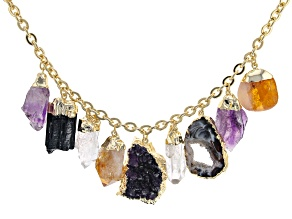 Multi Stone 18k Yellow Gold Over Brass Necklace