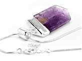 "Amethyst Silver Over Brass Pendant With 28"" Chain"