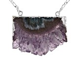 Amethyst Slice Silver Over Brass Necklace
