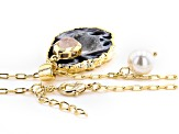 Agate, Drusy Agate, & 6mm Pearl Simulant 18k Yellow Gold Over Brass Pendant
