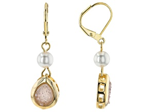 Drusy Agate & 6mm Pearl Simulant 18k Yellow Gold Over Brass Dangle Earrings