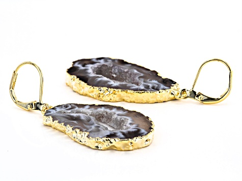 Agate 18k Yellow Gold Over Brass Earrings