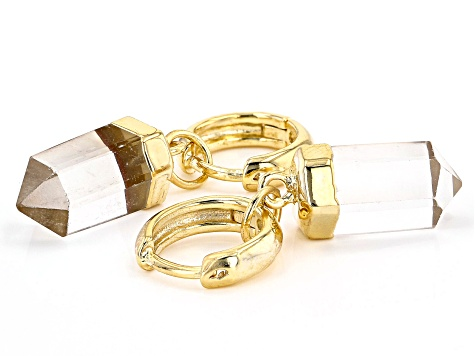 Crystal Quartz 18k Yellow Gold Over Brass Huggie Charm Earrings