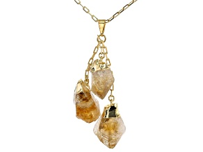 "Citrine 18k Yellow Gold Over Brass Drop Pendant With 32"" Chain"