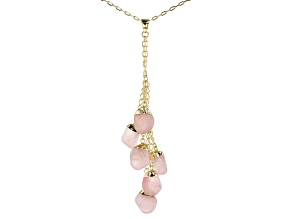 Rose Quartz 18k Yellow Gold Over Brass Drop Pendant