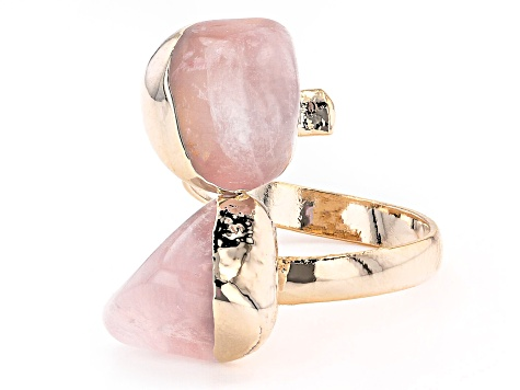 Rose Quartz 18k Yellow Gold Over Brass Bypass Ring
