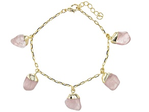 Rose Quartz 18k Yellow Gold Over Brass Station Bracelet