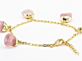 Rose Quartz 18k Yellow Gold Over Brass Station Bracelet