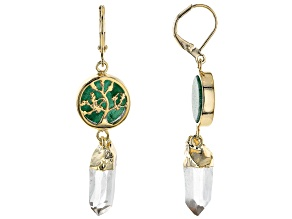 Crystal Quartz & Aventurine 18k Yellow Gold Over Brass Earrings