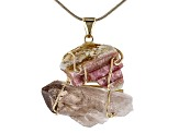 "Tourmaline & Smoky Quartz 18k Yellow Gold Over Brass Pendant With 18"" Chain"