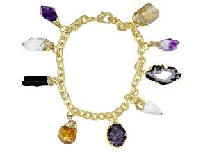 Free-Form Multi-Stone 18K Yellow Gold Over Brass Bracelet