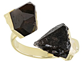 Free-Form Smoky Quartz 18K Yellow Gold Over Silver Bypass Ring