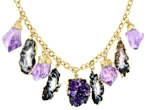 Free-Form Amethyst & Occo Agate Slice 18K Yellow Gold Over Brass Necklace