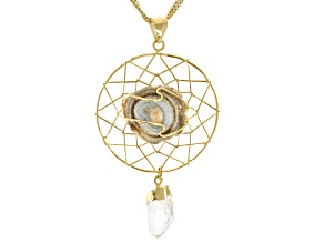 Agate Conch Shell & Quartz 18K Yellow Gold Over Brass Dream Catcher Pendant