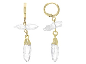 Free-Form Crystal Quartz 18K Yellow Gold Over Brass Earrings