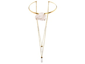Crystal Quartz 18K Yellow Gold Over Brass Interchangeable Necklace