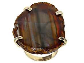 Free-Form Agate Slab 18K Yellow Gold Over Brass Ring