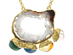 Free-Form Multi-Stone 18K Yellow Gold Over Brass Necklace