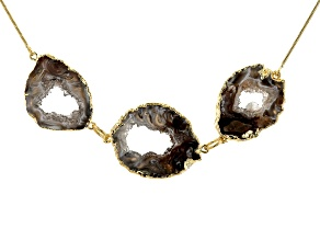 Occo Agate Slice 18K Yellow Gold Over Brass Necklace