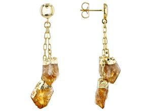 Citrine 18K Yellow Gold Over Brass Dangle Earrings