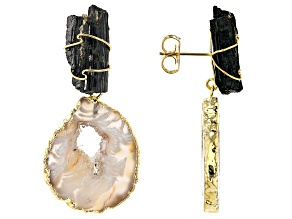 Tourmaline & Occo Agate 18K Yellow Gold Over Brass Drop Earrings