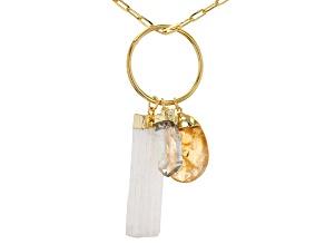 Crystal Quartz, Citrine, & Selenite 18K Yellow Gold Over Brass Pendant