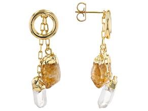 Citrine & Quartz 18K Yellow Gold Over Brass 3 in 1 Earrings