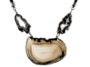 Agate Slices With Faux Leather Cord Titanium Necklace