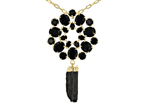 Tourmaline With Black Glass 18K Yellow Gold Over Brass Paper Clip Necklace