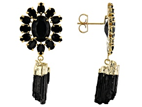 Tourmaline & Oval Black Crystal 18K Yellow Gold Over Brass Earrings