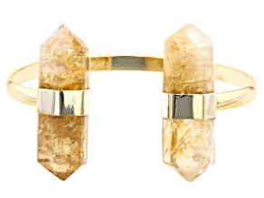Citrine 18K Yellow Gold Over Brass Cuff Bracelet