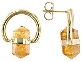 Artisan Collection of Brazil™ Citrine 18K Yellow Gold Over Brass Stud Earrings