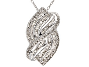 Diamond Rhodium Over Sterling Silver Pendant .75ctw